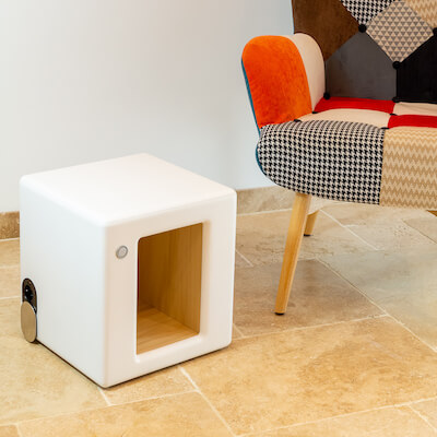 table de chevet connectee ingenio cube modele pure avec niche